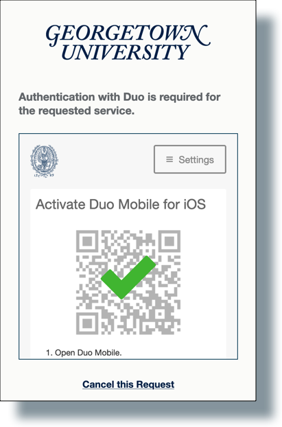 Check mark showing the Duo bar code was scanned successfully