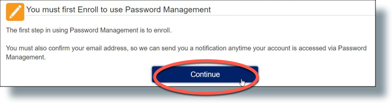 Message that you need to enroll in Password Station.
