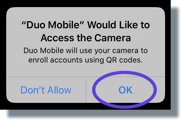 Tap 'OK' to allow Duo to access your device's camera