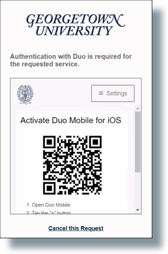 QR code to activate Duo