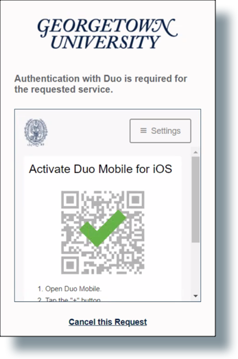 Check mark showing successful QR code scan by device