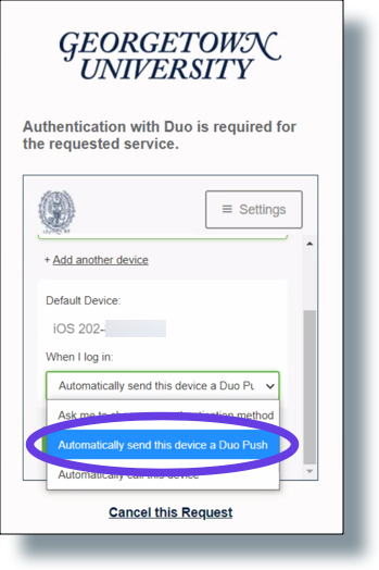 Select 'Automatically send the device a Duo Push' from the drop-down