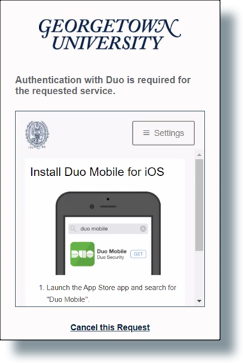 The 'Install Duo for iOS' screen
