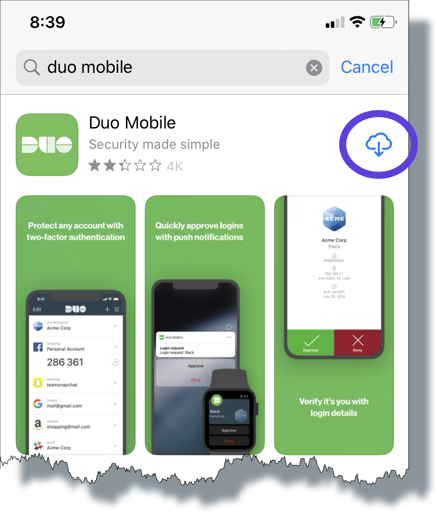 Tap the down arrow icon to install the Duo Mobile app