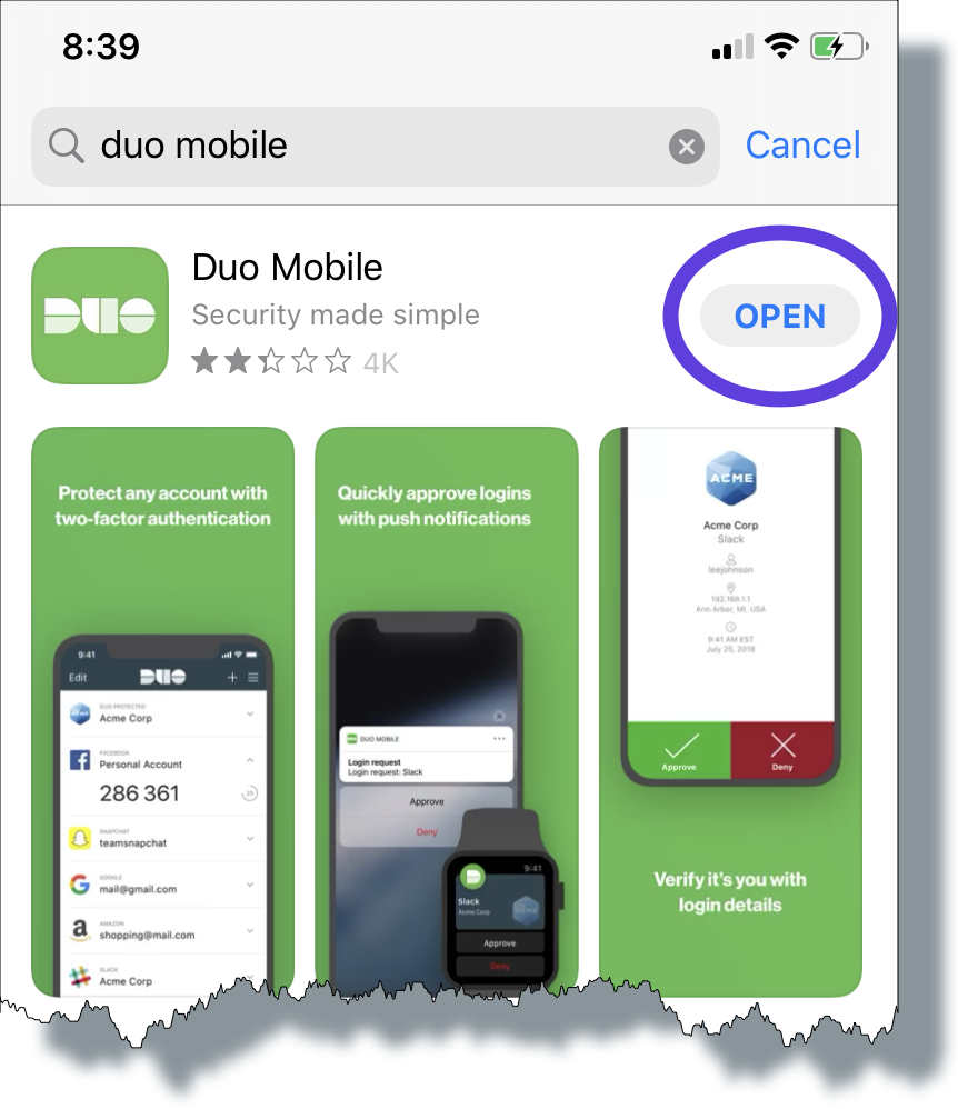 Tap 'Open' to open the Duo Mobile app