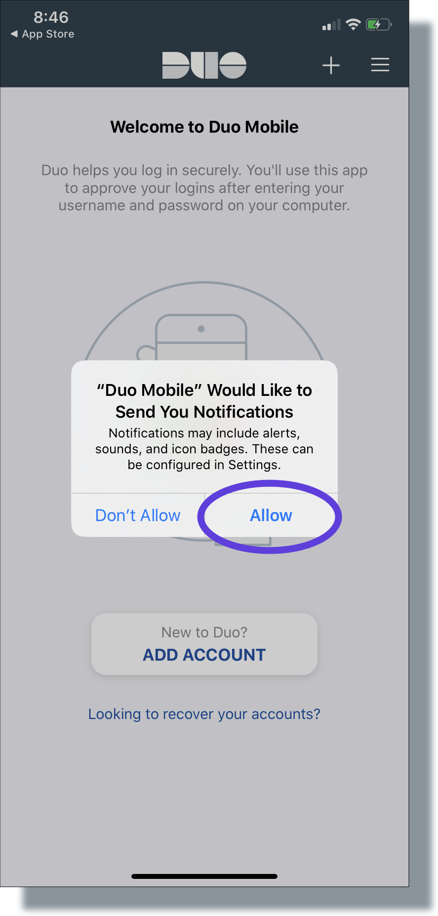 Tap 'Allow' to allow Duo notifications
