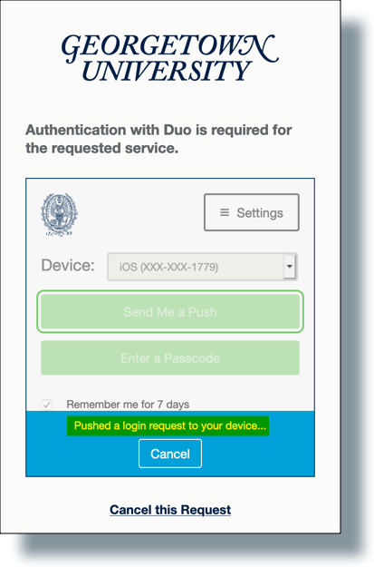 Duo message that push was sent to your device