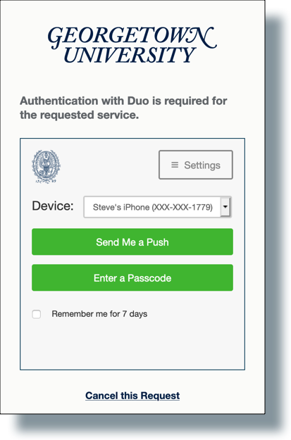 Duo screen showing authentication options