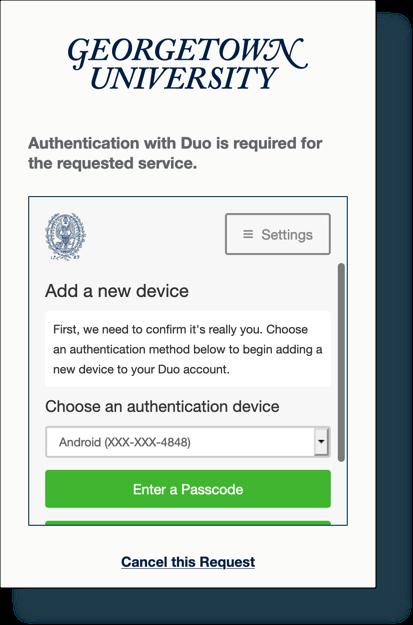 Scroll down Duo screen to display 'push' option