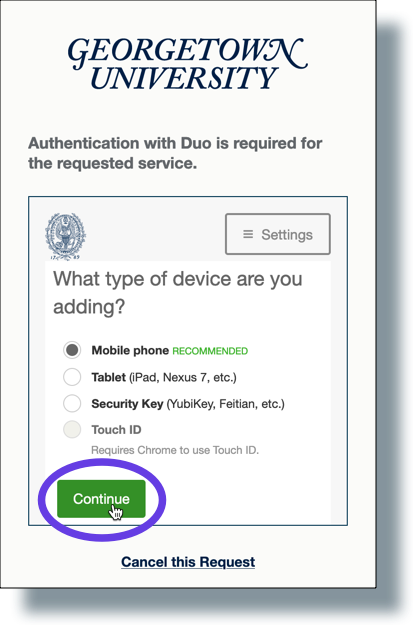 Select 'Mobile phone' and then click 'Continue'