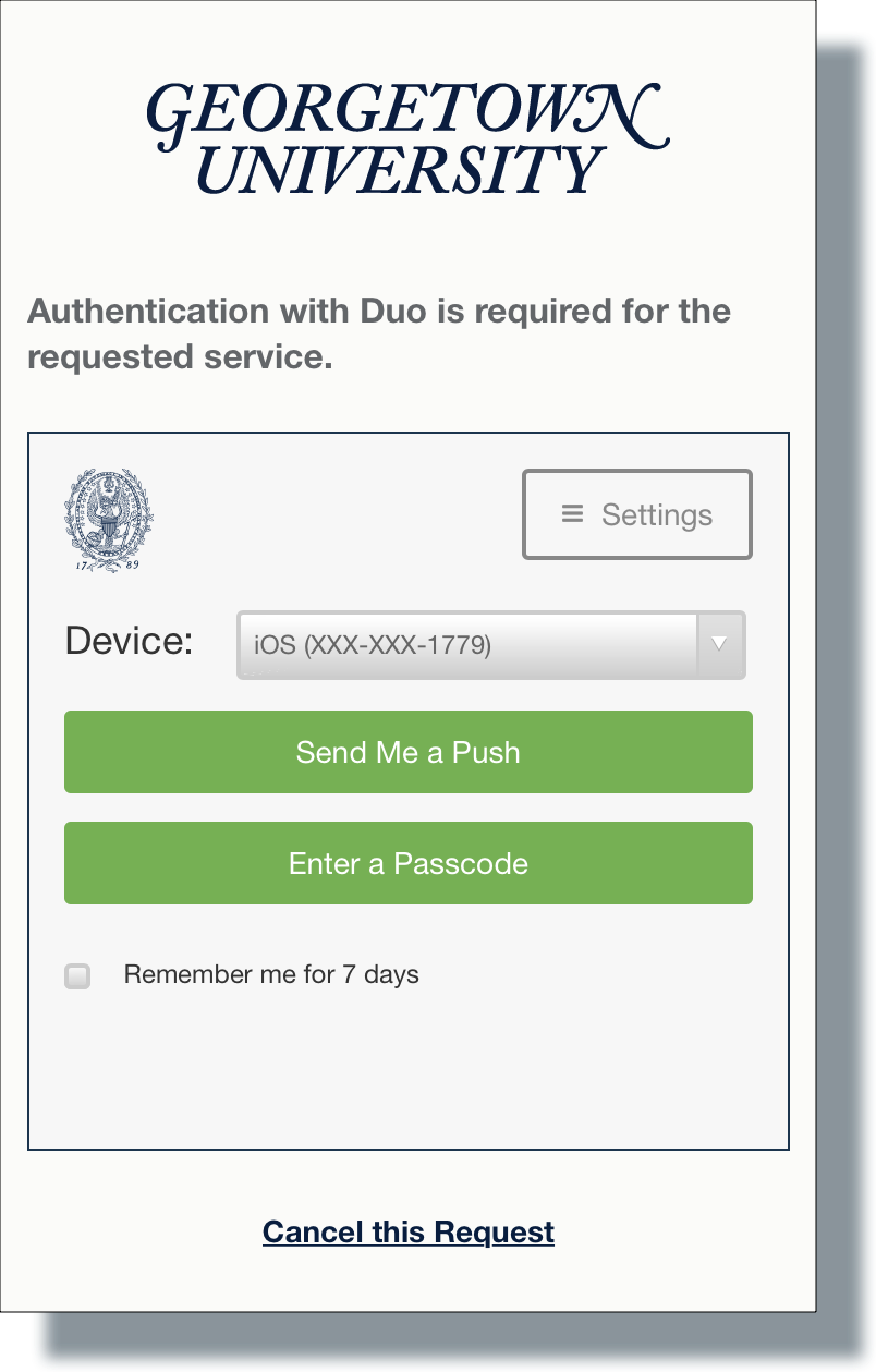 Select Duo authentication method