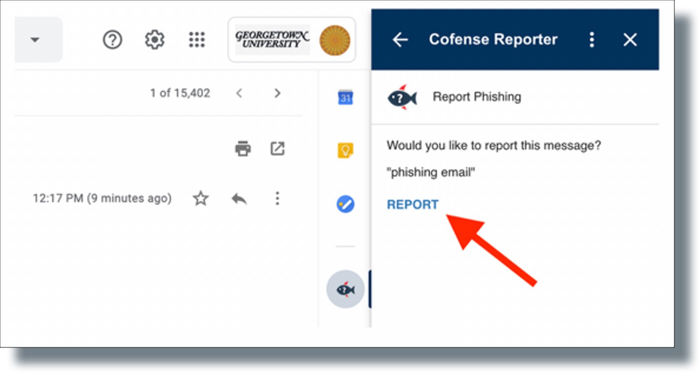 Click on the 'REPORT' button from the 'Cofense Reporter' tab