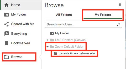 Browse for Zoom Default Folder
