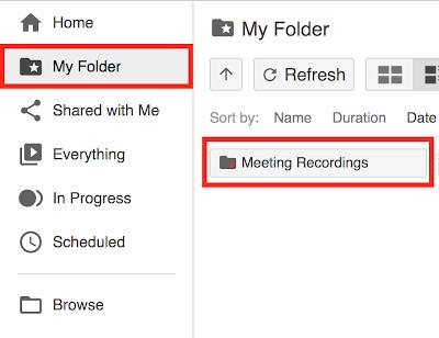 my folder, meeting recordings folder