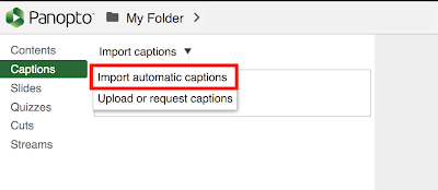 import auto captions