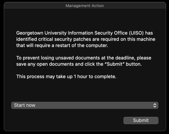 Apple Mac critical update message