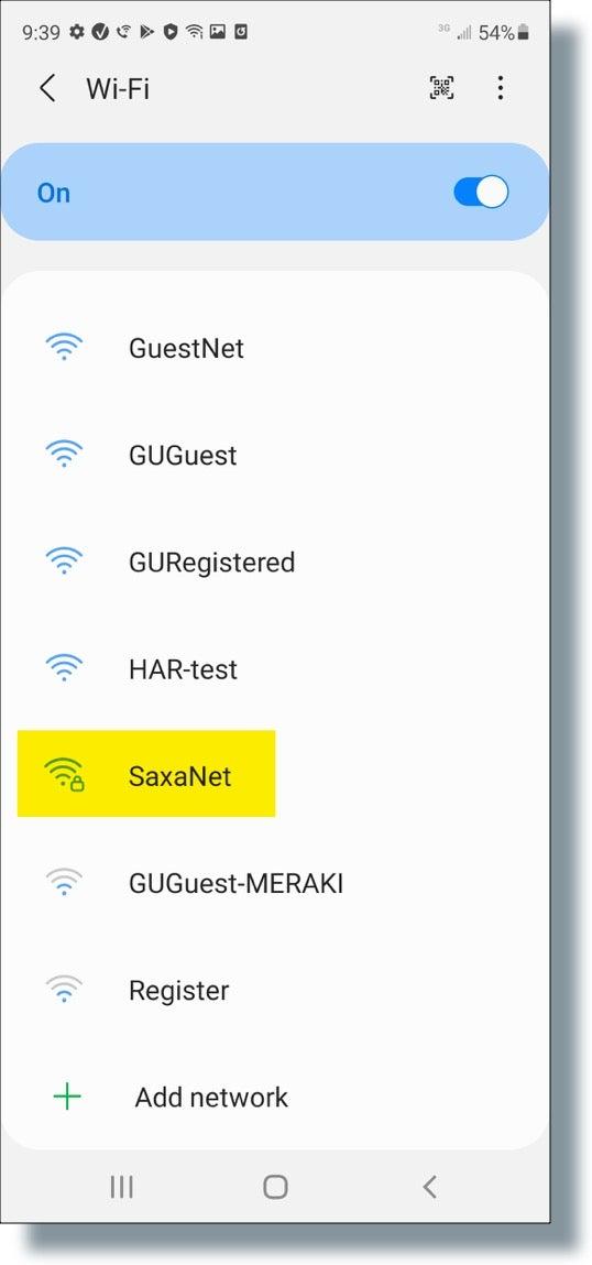 Select 'SaxaNet'